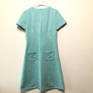 Vintage 60s/70s Herringbone Blue Fit & Flare Dress
